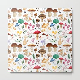 Watercolor forest mushroom illustration and plants Metal Print