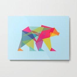 Fractal Bear - neon colorways Metal Print