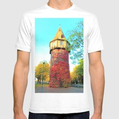 Tower in Autumn White Mens Fitted Tee MEDIUM