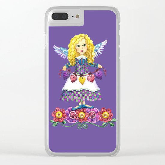 Angel Love (Purple) Clear iPhone Case