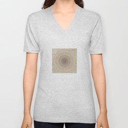 Unique Texture Taupe Burlap Mandala Design Unisex V-Neck