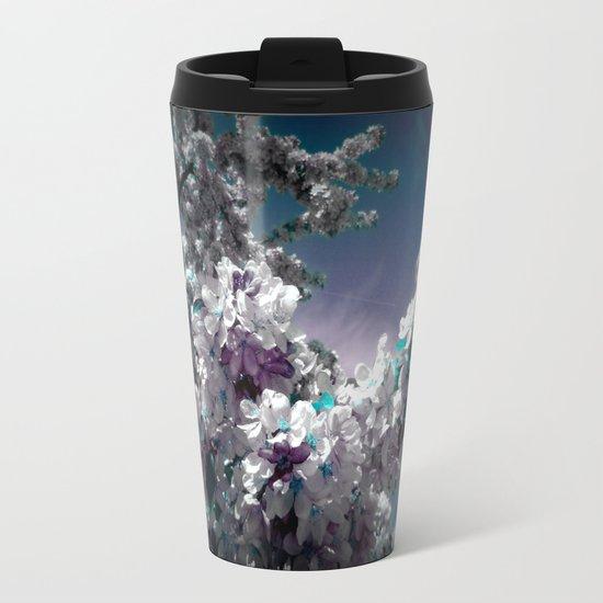 Flowers Purple & Teal Metal Travel Mug