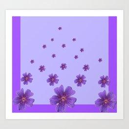 RAINING PURPLE FLOWERS LILAC COLLAGE ART Art Print