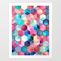 crystal Art Prints featuring Topaz & Ruby Crystal Honeycomb Cubes by micklyn