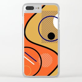 Opposing Sides - Abstract, orange and mustard, geometric, contrasting design Clear iPhone Case
