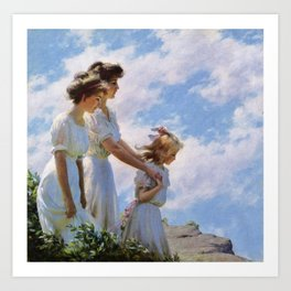 Charles Courtney Curran (1861-1942) On the Cliff 1910 Art Print