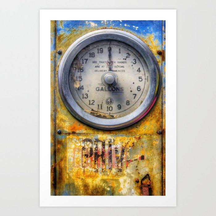 Old Petrol Pump Gauge Art Print