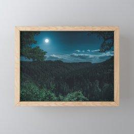 Night Forest with MoonLight Framed Mini Art Print
