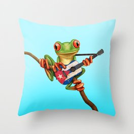 Tree Frog Playing Acoustic Guitar with Flag of Cuba Throw Pillow