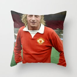 Denis Law in colour Throw Pillow
