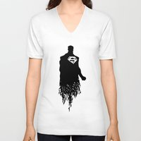 justice league V-neck T-shirts featuring Justice Silhouette #3 by iankingart