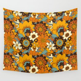 70s Retro Flower Power 60s floral Pattern Orange yellow Blue Wall Tapestry