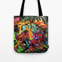 jazzberry Tote Bags featuring Just another day in the jungle by Donuts