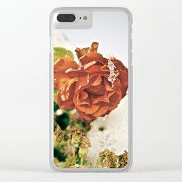 Retro Winter Rose Clear iPhone Case