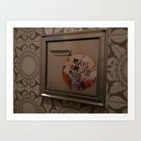 sticker Art Prints featuring bathroom sticker by nilon