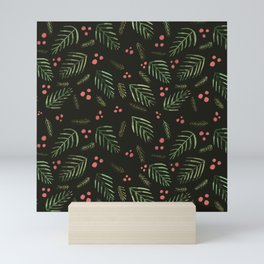 Christmas tree branches and berries - sap green and coral Mini Art Print
