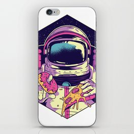Hungry Astronaut Eating Donuts and Pizza iPhone Skin