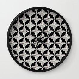 Geometric Black & White Retro Pattern Wall Clock