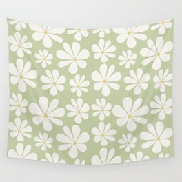 Floral Daisy Pattern - Green Wall Tapestry