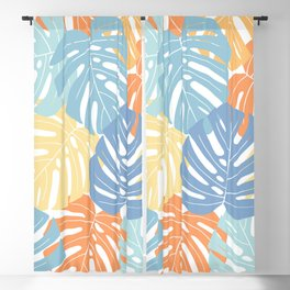 Monstera leaves Colorful Jungle leaves Palm leaves Tropical art Blackout Curtain