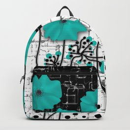 Turquoise flowers on black and white background . Backpack