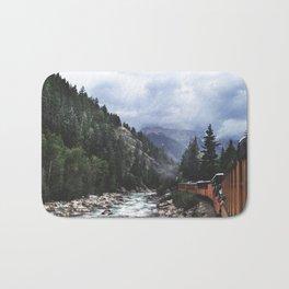 Train ride through the Colorado mountains Bath Mat