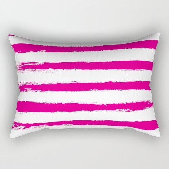 Pretty Pink STRIPES Handpainted Brushstrokes Rectangular Pillow