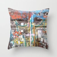 door Throw Pillows featuring DOOR by  ECOLARTE