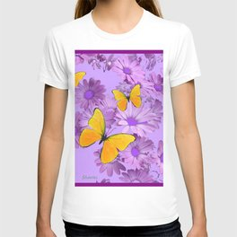 Yellow Butterflies Pinkish Lilac Color Purple Daisy Flowers T-shirt