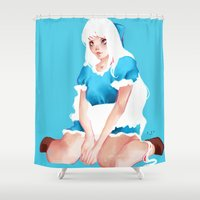 alice in wonderland Shower Curtains featuring Wonderland by Muzhur n' Leaevra