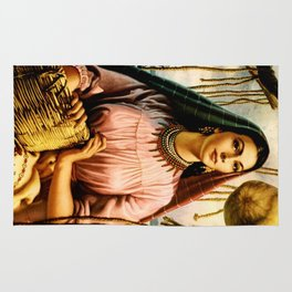 Jesus Helguera Painting of a Mexican Fisher Girl With Basket Rug