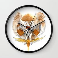 hedwig Wall Clocks featuring Potter Hedwig Owl by Rubis Firenos
