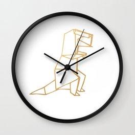 Dinosaur Origami (gold) Wall Clock