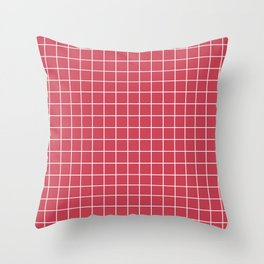 Brick red - pink color - White Lines Grid Pattern Throw Pillow