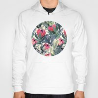 flower pattern Hoodies featuring Painted Protea Pattern by micklyn