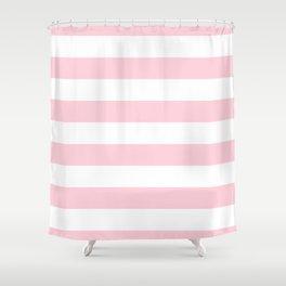 Light Soft Pastel Pink Cabana Tent Stripes Shower Curtain