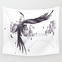 crow Wall Tapestries featuring Crow by Arixona