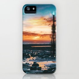 Beacons: Towers crowned by Flames on a Sunrise Beach iPhone Case