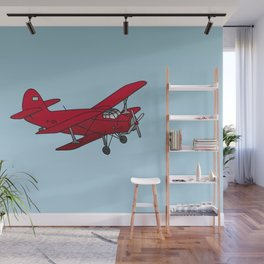Red biplane Wall Mural