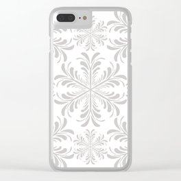 Christmas Snow Flakes in Gray and White Clear iPhone Case
