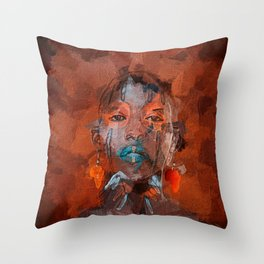 Black african woman Throw Pillow