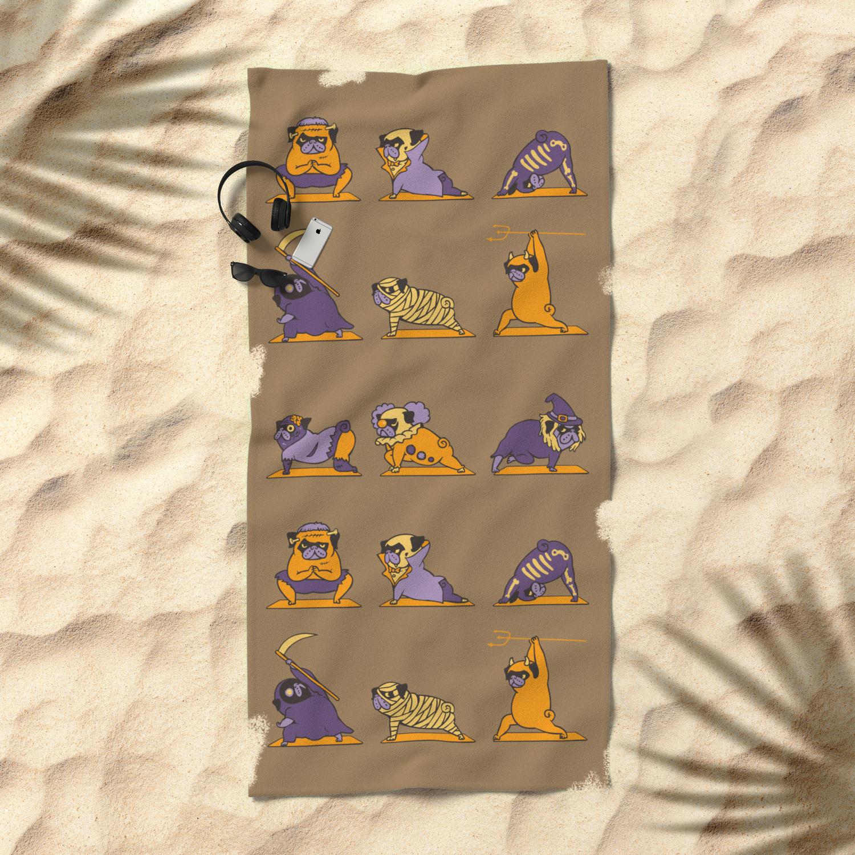 dd7faff1 Pug Yoga Halloween Monsters Beach Towel by huebucket | Society6