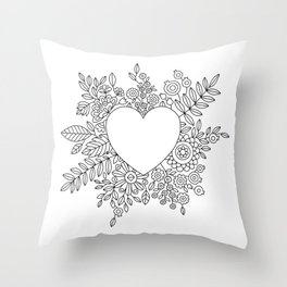 Flourishing Heart Adult Coloring Illustration, Heart and Flowers Wreath Throw Pillow