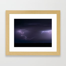 Summer Lightning Storm On The Prairie IV - Nature Landscape Framed Art Print