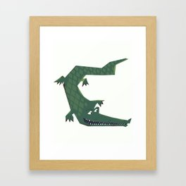 Snapping vintage Alligator Framed Art Print
