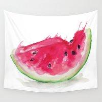watermelon Wall Tapestries featuring Watermelon by Bridget Davidson