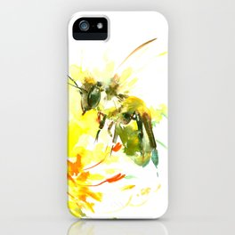 Honey Bee and Yellow Abstrac floral decor iPhone Case