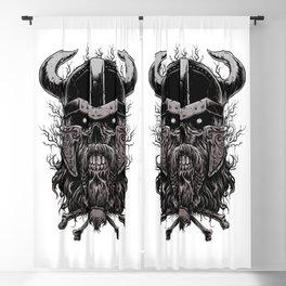 Viking Skull   Warrior Odin Illustration Blackout Curtain