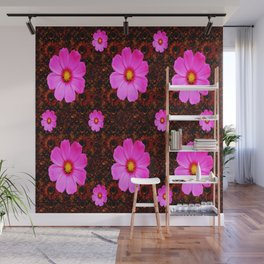 FUCHSIA PINK FLOWERS &  DARK ART Wall Mural