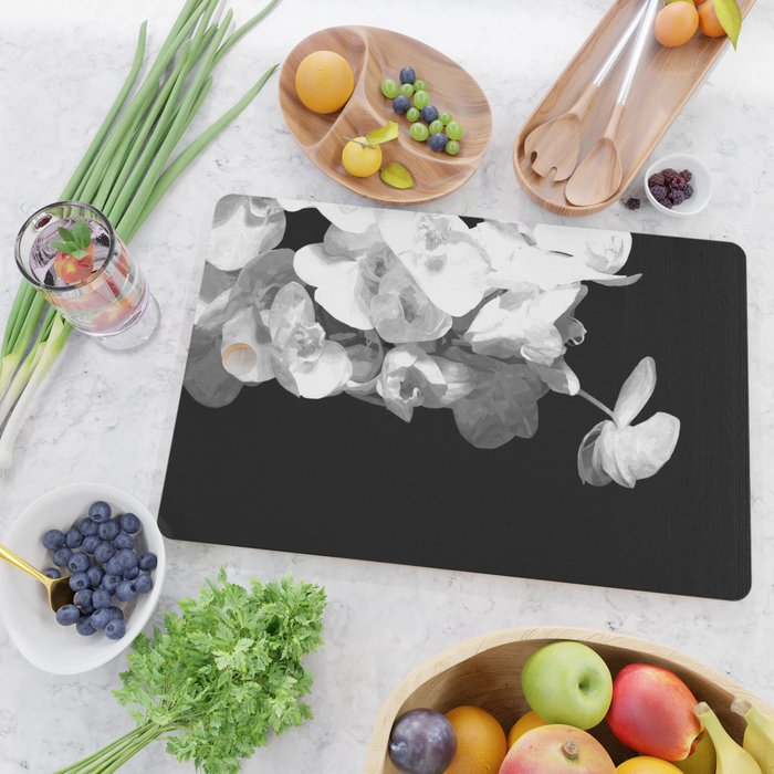 White Orchids Black Background Cutting Board